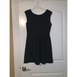 Cap sleeve fit and flare black dress w gold stitch